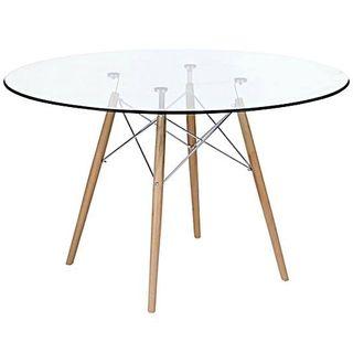 Mesa Comedor Eames Redonda Vidrio Patas Madera 1,20 | mobiliario ...