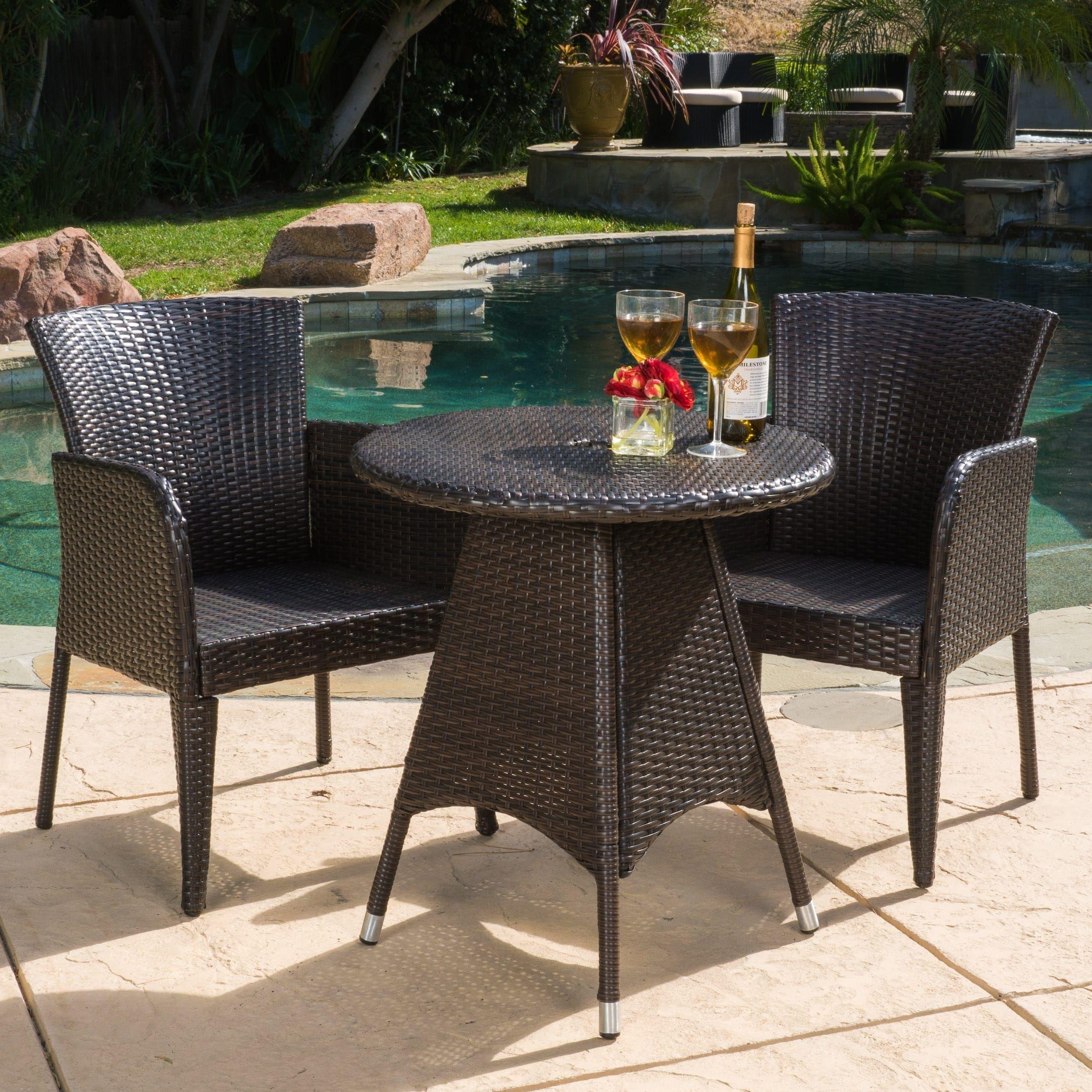 Brayden Outdoor 3 Piece Wicker Bistro Set By Christopher Knight Home Iron Brown Patio Furniture