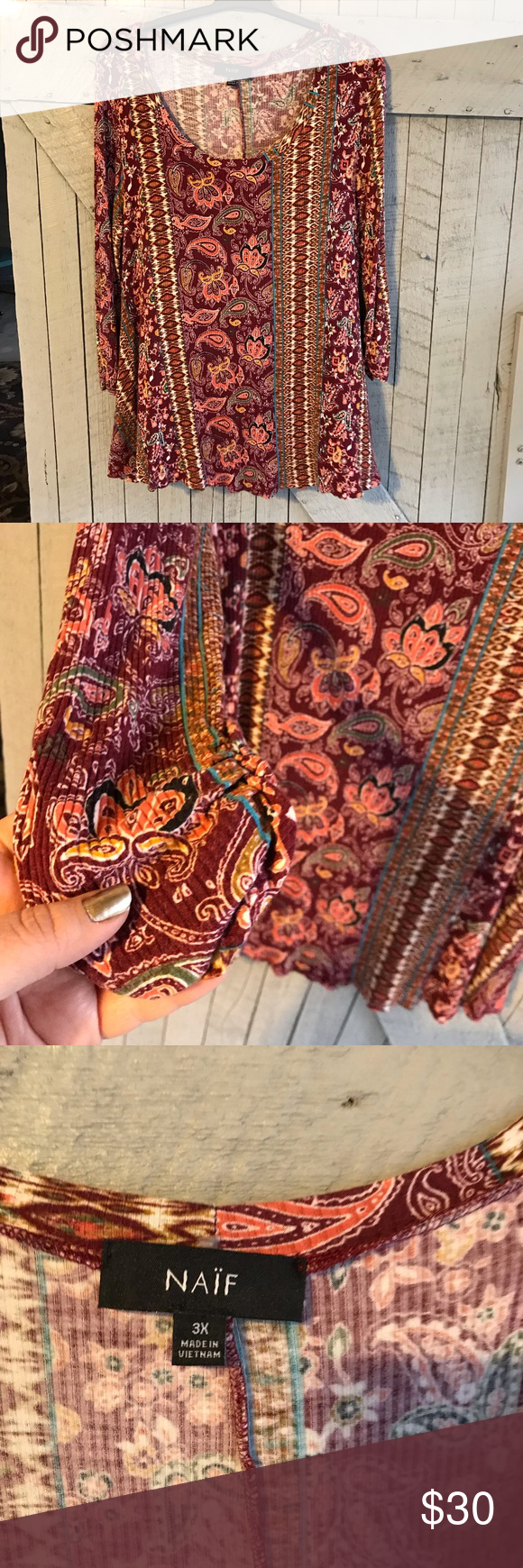 Naïf Paisley Print Top This shirt is in great used condition and will look great on you year round! You can dress it up or down, it is perfect for a …
