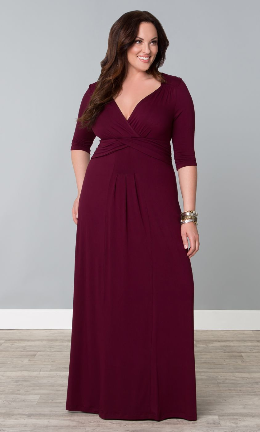 11bdfe05e963 Who said maxi dresses are only for spring and summer  Our plus size Desert  Rain Maxi in Raspberry Wine is great for fall. With soft jersey knit fabric  and ¾ ...