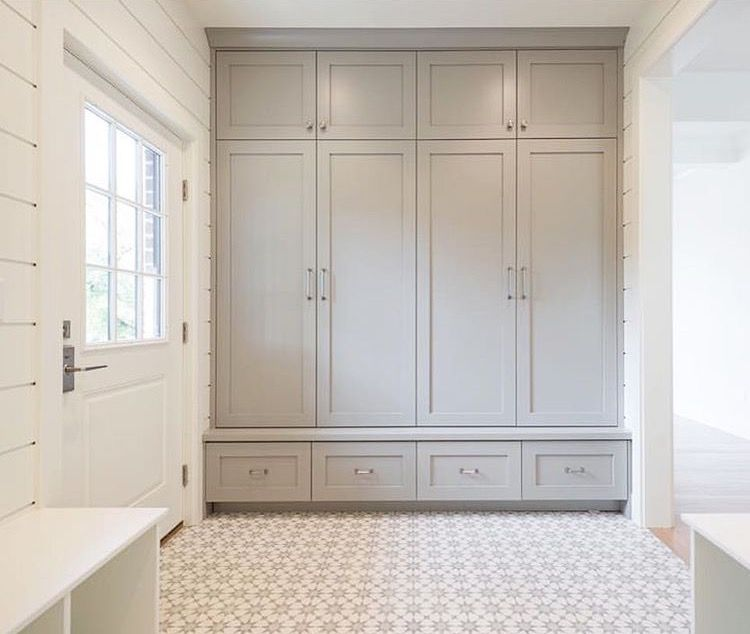 Colour: SW   Dorian Grey I LOVE This Mud Room Idea: Everything Is Hidden  Behind Closed Doors, Everyone Gets Their Own Closet/drawers/cabinet.