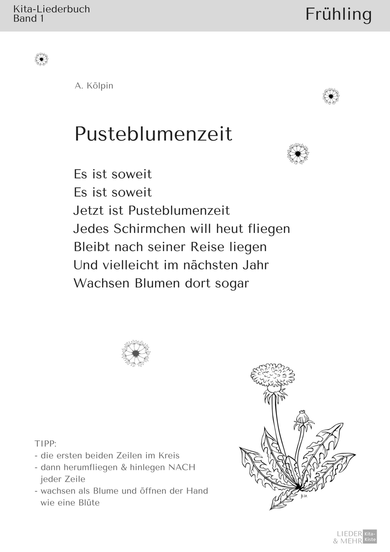 Gedicht Pusteblume Bewegung Kita musikalische Füherziehung ...