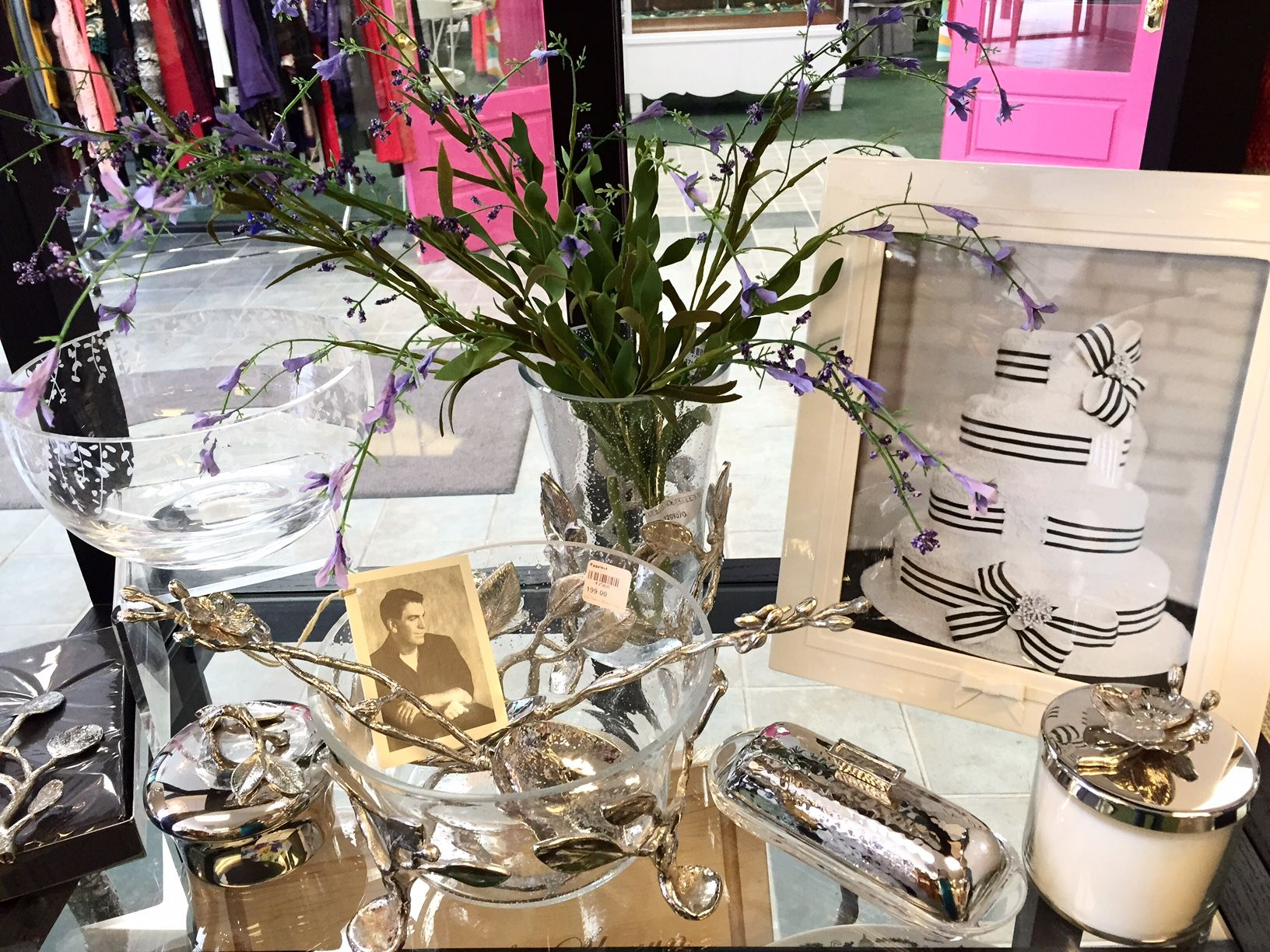 Michael Aram serveware paired with a Kate Spade white wedding frame ...