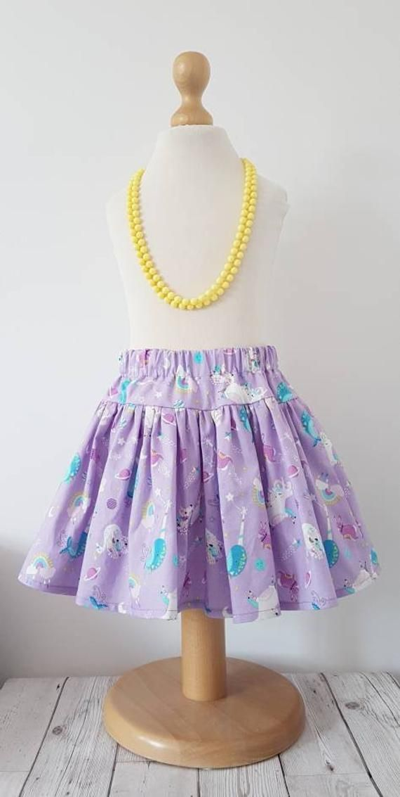 Space unicorn skirt, twirl skirt, glow in the dark, girls skirt, uk