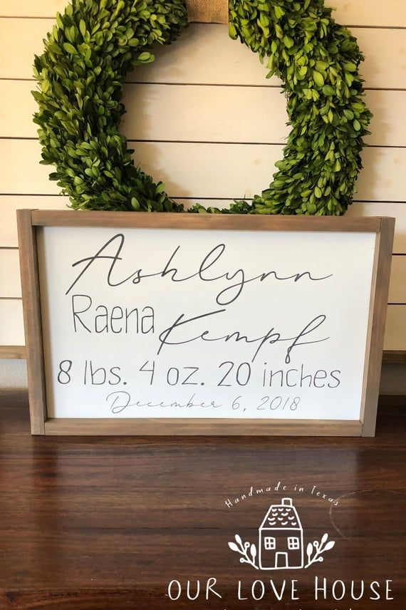 New Baby Annoucement Wooden Plaque Hanging Sign Personalised Gift