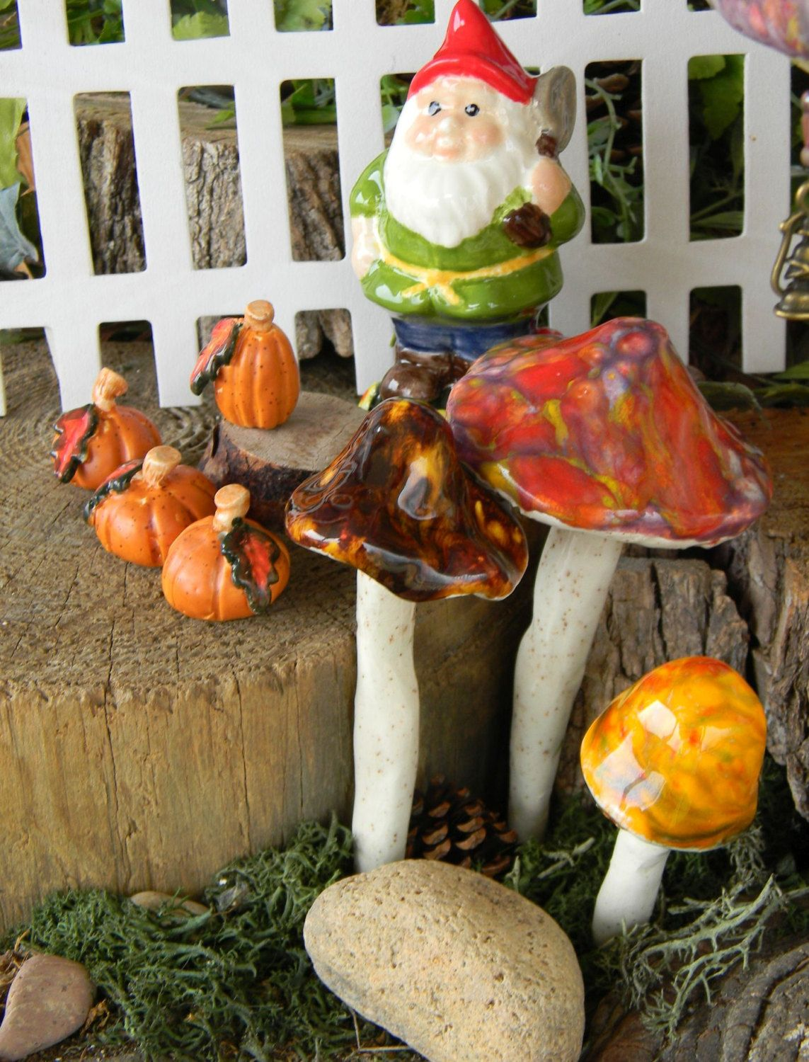 3 MUSHROOM Garden STAKES /Ceramic Shroomz Toadstools Pottery For Your  Windowsill Box ....Fairy Garden Decor .....Ready To Ship