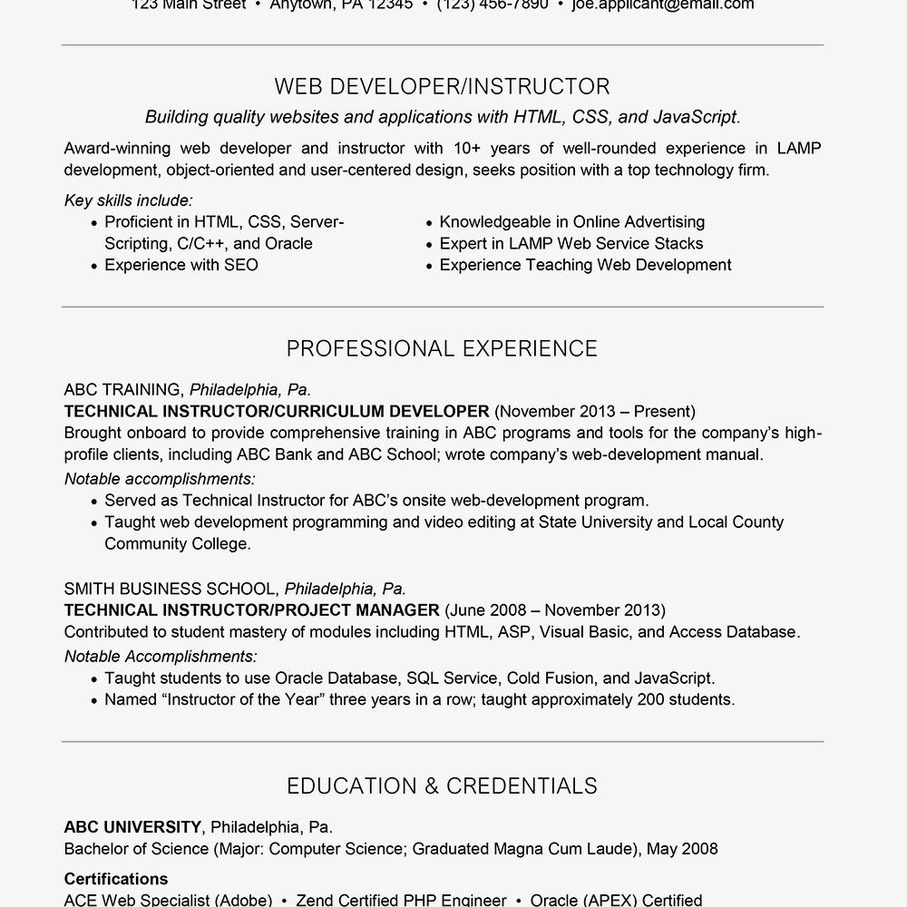 Developer Resume Sample Luxury Web Developer Resume