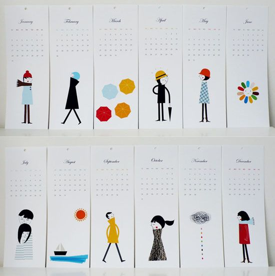 Layout Graphic Design Inspiration: Cute People Calendar Via UPrinting Design Blog