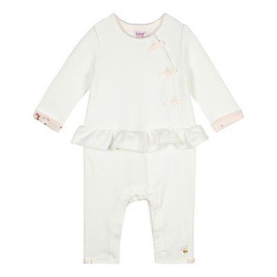 33e4b8a2880 Baker by Ted Baker Babies off white mock 2-in-1 cardigan and bottoms romper  suit-