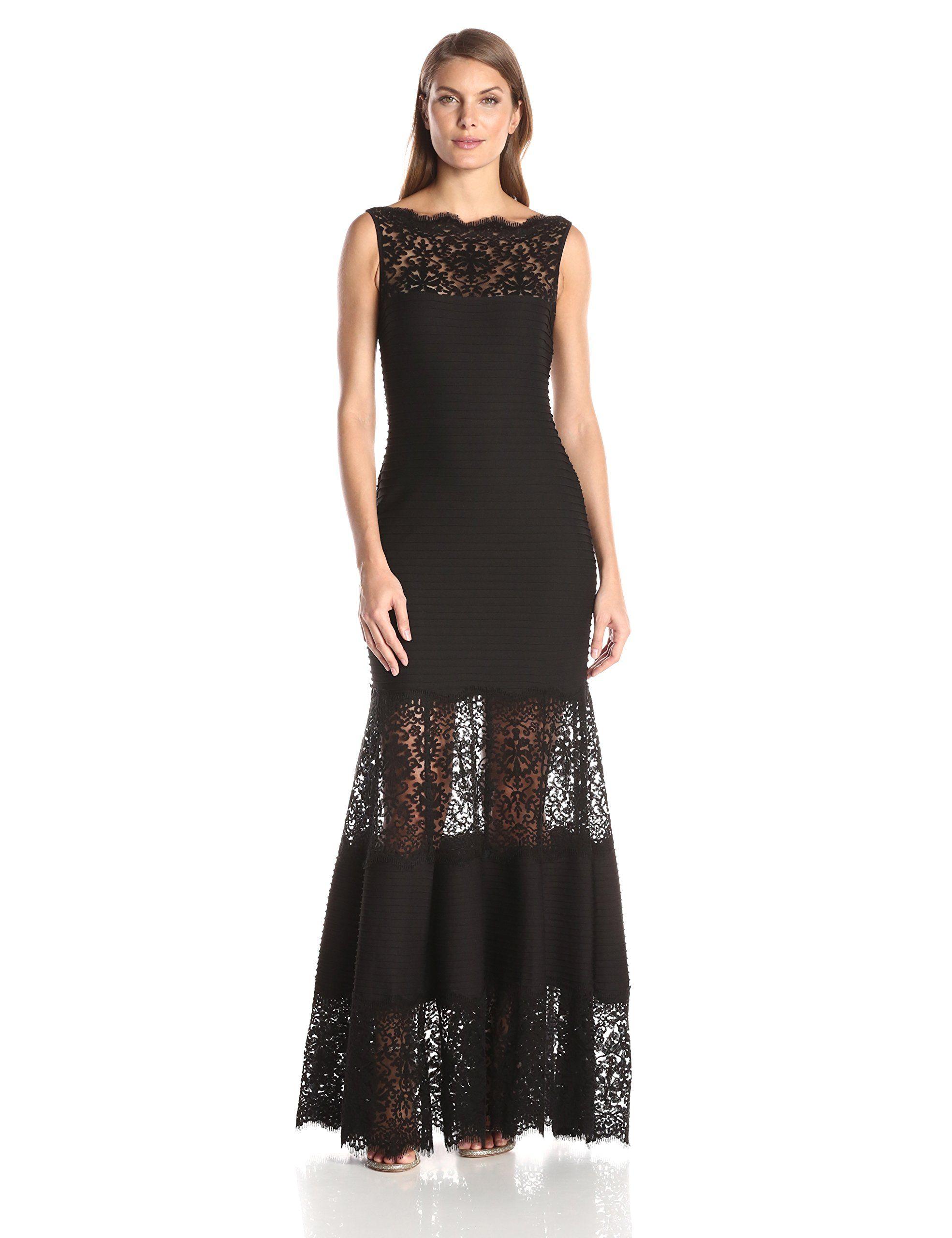 96f6684304 AMAZON Tadashi Shoji Women s Pintucked Jersey Gown with Lace Illusion Neck  Tassara Fonseca PRODUCT PAGE