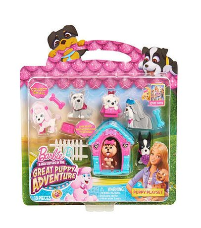 Barbie The Great Puppy Adventure 10 Pack Puppy Playset Blue