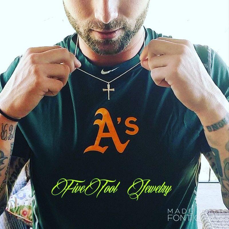 Baseball Bat Cross and Chain (Silver)