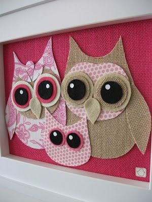 OWL'S are so popular, and this would be so easy to do! :).  Obviously I'll need 4 owls, not 3 -   24 fabric owl crafts