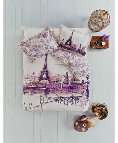100-Cotton-Paris-Eiffel-Tower-QUEEN-Double-Bedding-Duvet-Cover-Quilt
