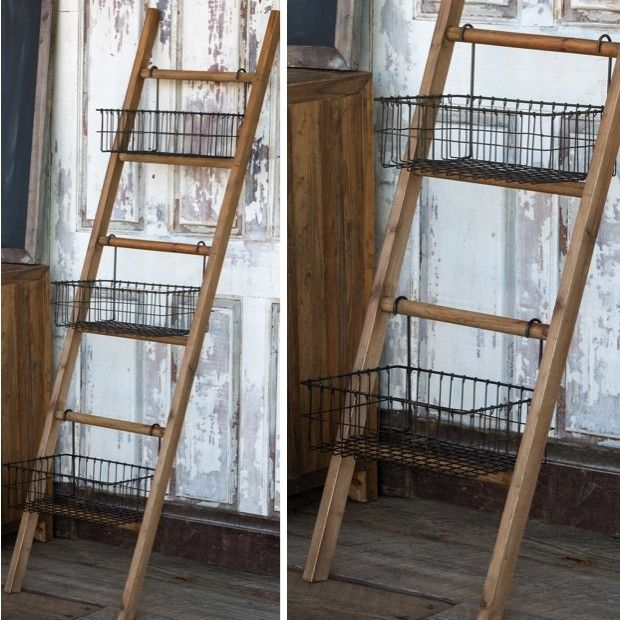 Ladder Rack With Wire Display Baskets Display Basket Farmhouse Style Diy Farmhouse Furniture