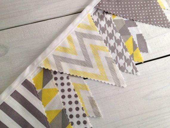 Bunting Fabric Banner, Fabric Flags, Nursery Decor, Birthday Decoration, Baby Shower - Yellow, Grey, Gray, Chevron, Gingham