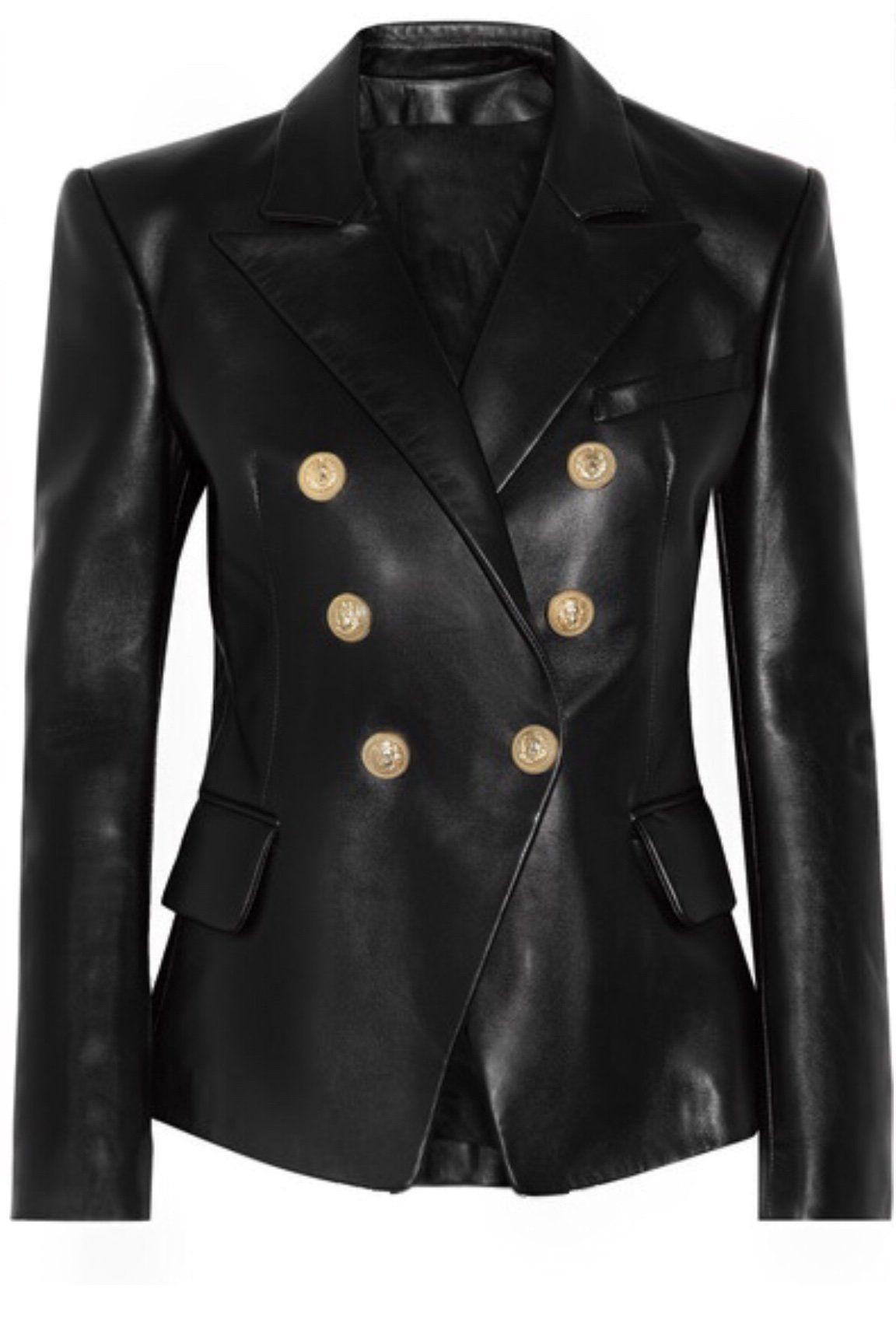 Leather Button Blazer Leather Jackets Women Leather Jacket Fur Coats Women [ 1728 x 1152 Pixel ]