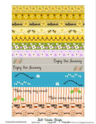 Scrapbooking Embellishment Erin Condren Planner Fall Autumn Washi Stickers Sheet