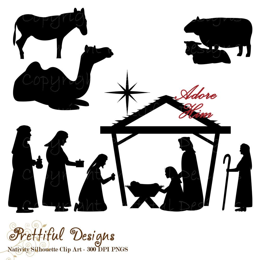 Christmas Nativity Silhouette Clip Art for by PrettifulDesigns ...