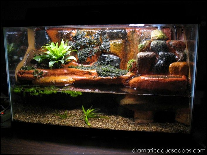 Dramatic aquascapes diy aquarium background plateau for Waterfall fish tank