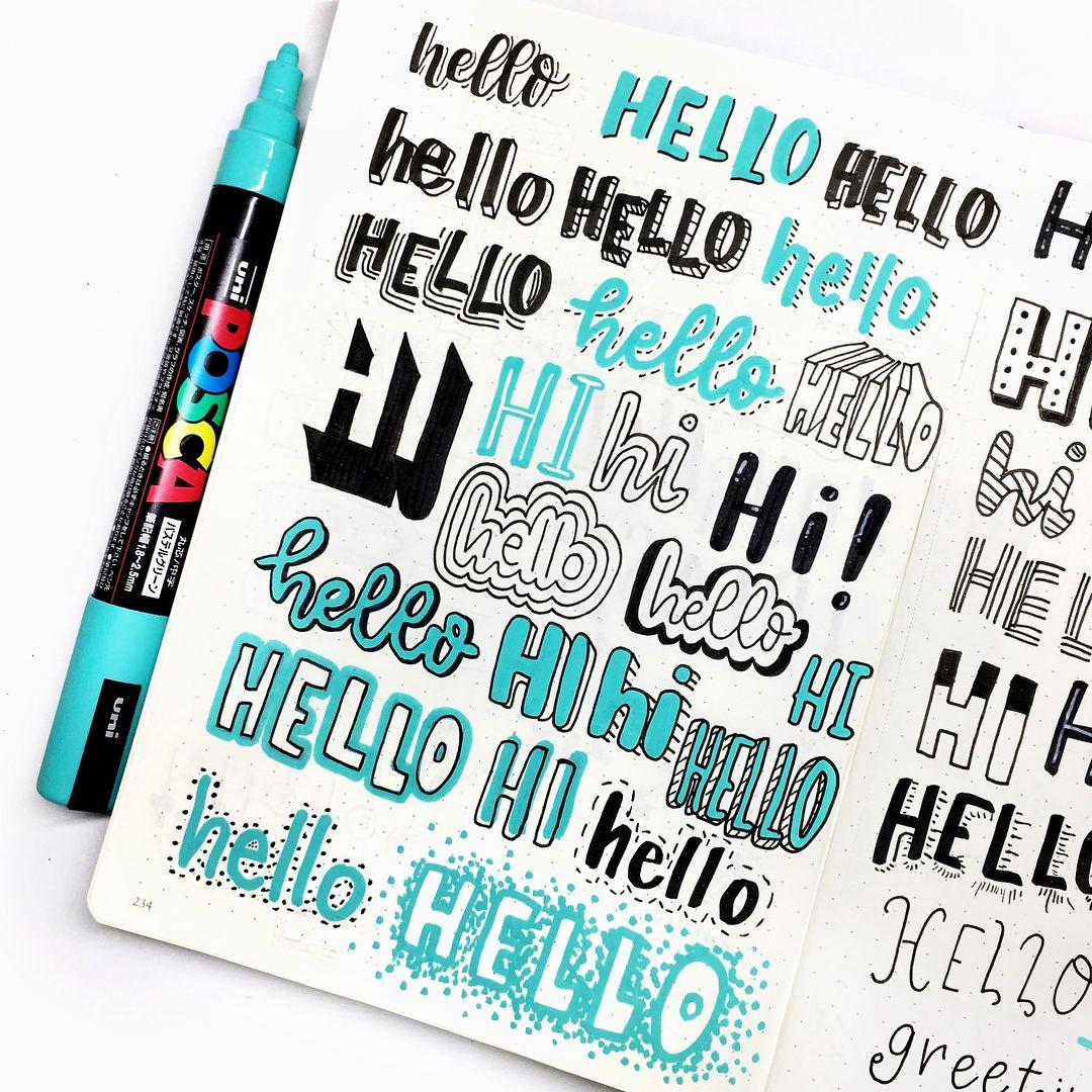 """Photo of ARTSbyWOODSTOCK l レ タ リ ン Instagram auf Instagram: """"Über 50 HELLOs, inspiriert von den 50 Handschrift-Ideen von @amandarachdoodles. Ich habe mein neues # leuchtturm1917 Bullet Journal für dieses verwendet. Soll ich…"""""""