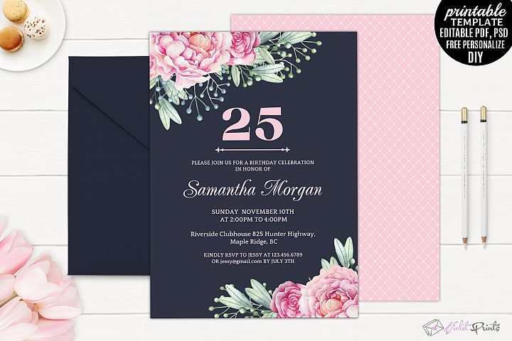 Navy And Pink Watercolor Flowers 25th Birthday Invitation Template From DesignBundles Graphic Design Templa