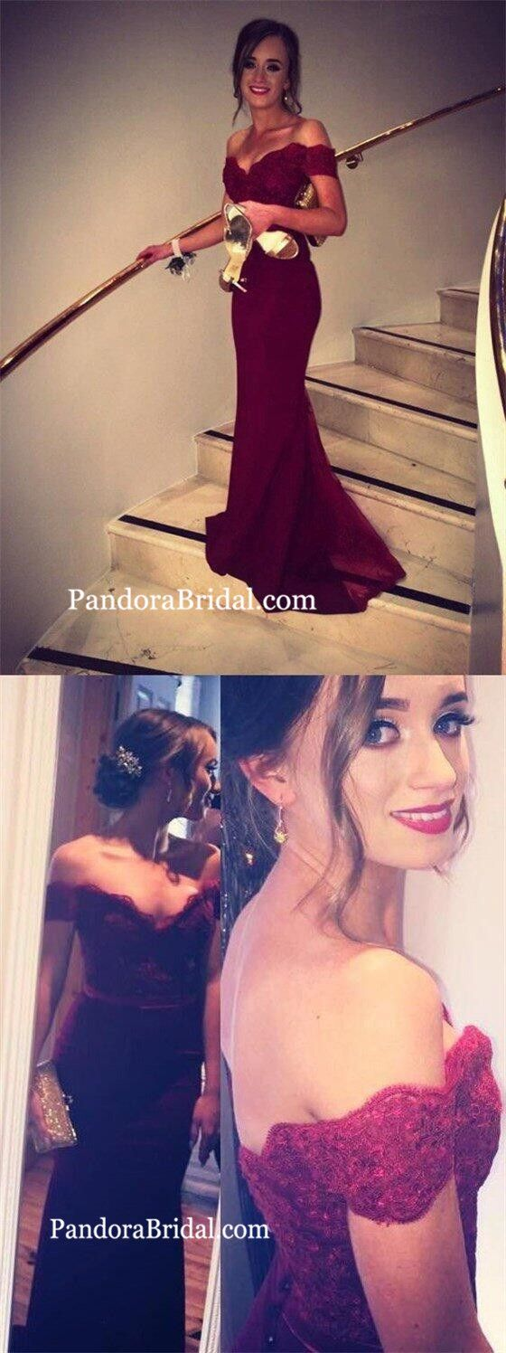 Dark red off shoulder long mermaid lace prom evening dresses prom