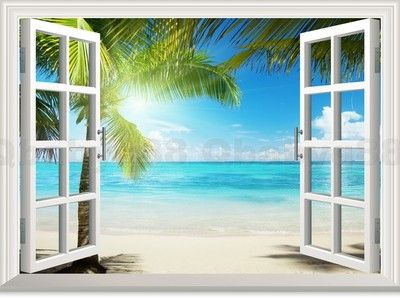 Large Sunshine Beach Tree 3d Window View Removable Wall