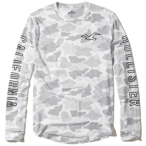 Hollister Crewneck Graphic Tee ($9.98) ❤ liked on Polyvore featuring men's  fashion, men's clothing, men's shirts, men's t-shirts, grey camo, ...