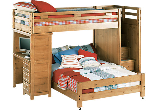 Creekside Taffy Twin Full Step Bunk Bed With Desk Beds Light Wood Kids Bunk Beds Cool Bunk Beds Bunk Bed With Desk