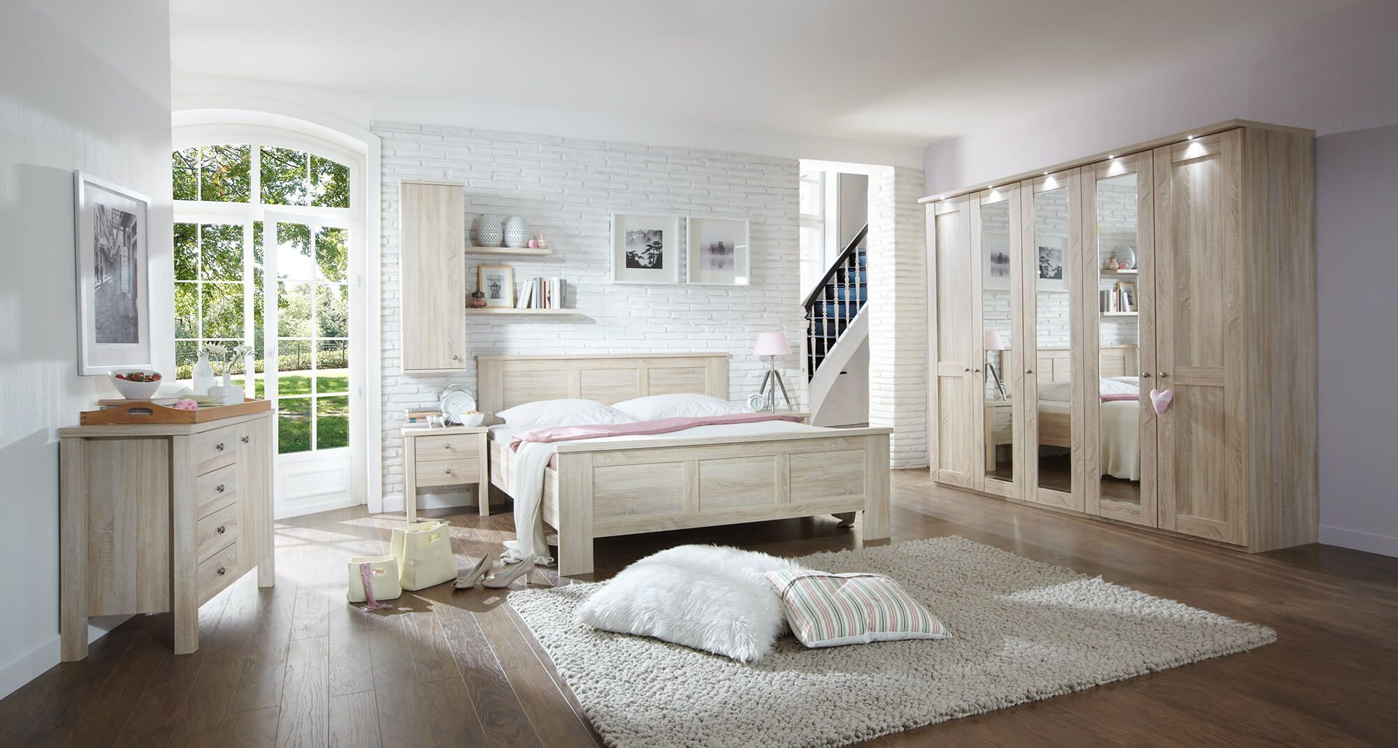 Slaapkamer Bergamo Bed 160x200 2 Nachttafels Kledingkast 250cm Kranslijst Incl Verlichting Thuisdecoratie Bergamo Slaapkamerdesigns