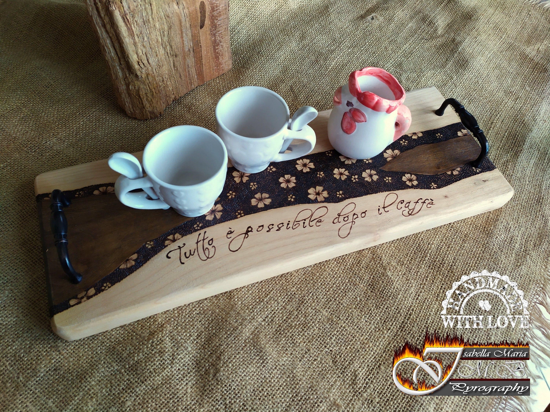 Photo of Vassoio inciso a fuoco, Vassoio in legno di cedro, Porta il tuo caffè con stile, Pirografia su cedro, spedizione gratuita per Italia