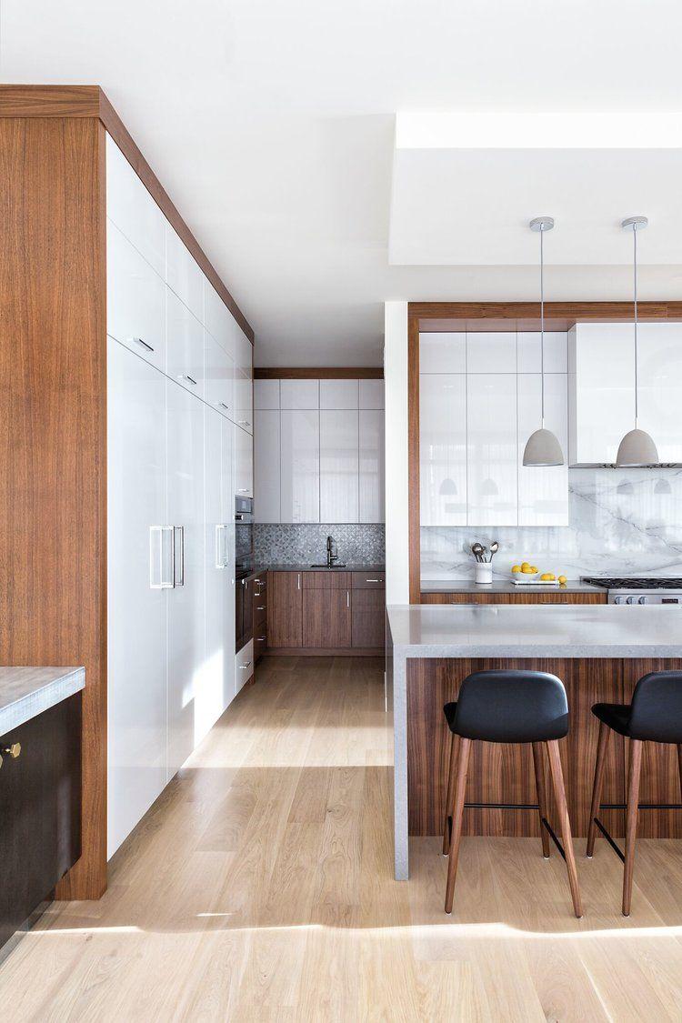 Modern Kitchen, Glossy White and Walnut, Elbow Park Modern