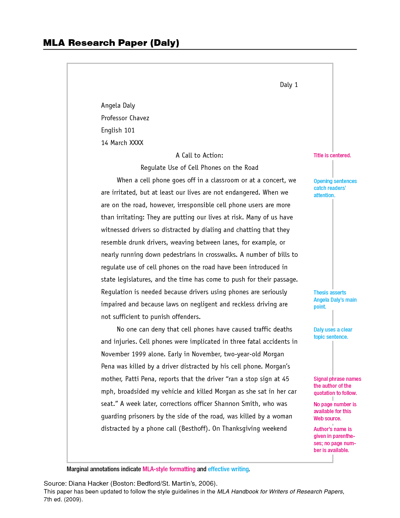 Beau MLA Format Research Papers | MLA Research Paper (Daly)