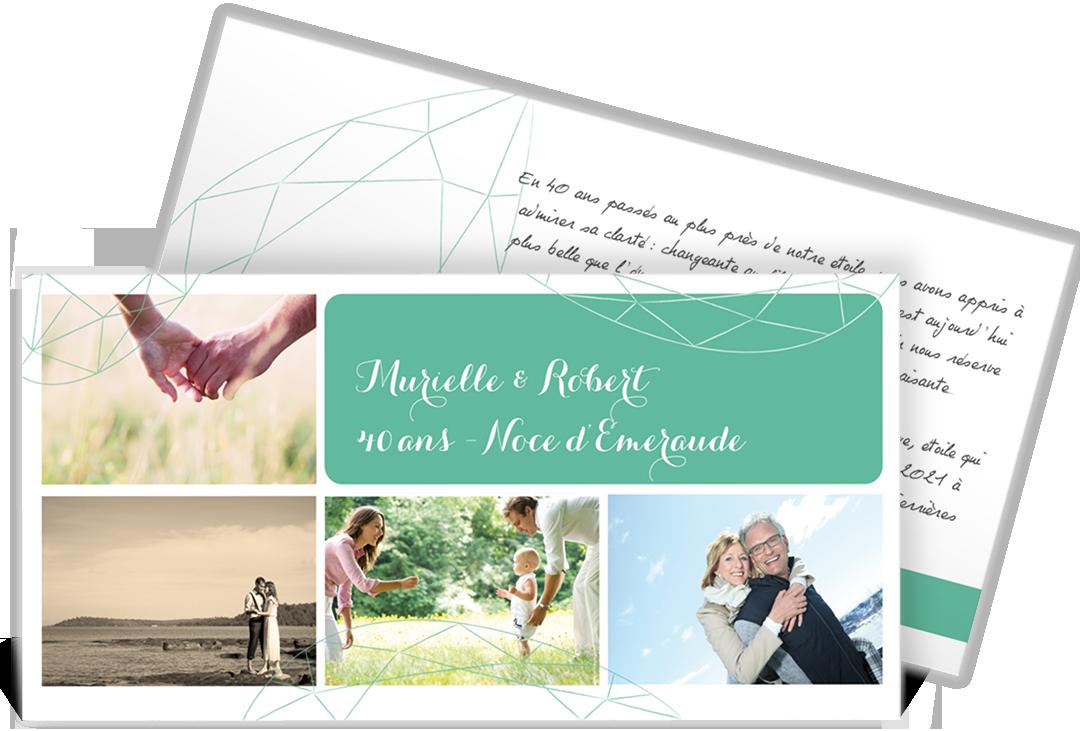 Invitation Anniversaire De Mariage Couleur émeraude Pour