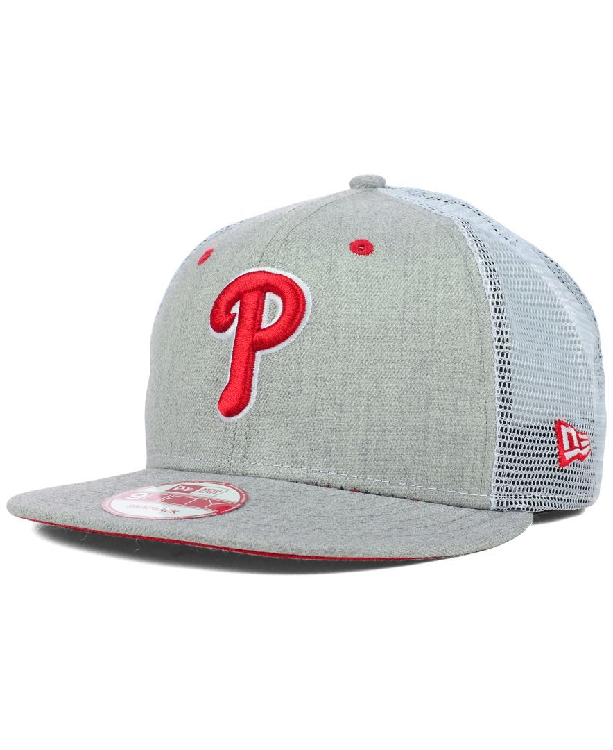 f242b2dae New Era Philadelphia Phillies Heather Trucker 9FIFTY Snapback Cap ...