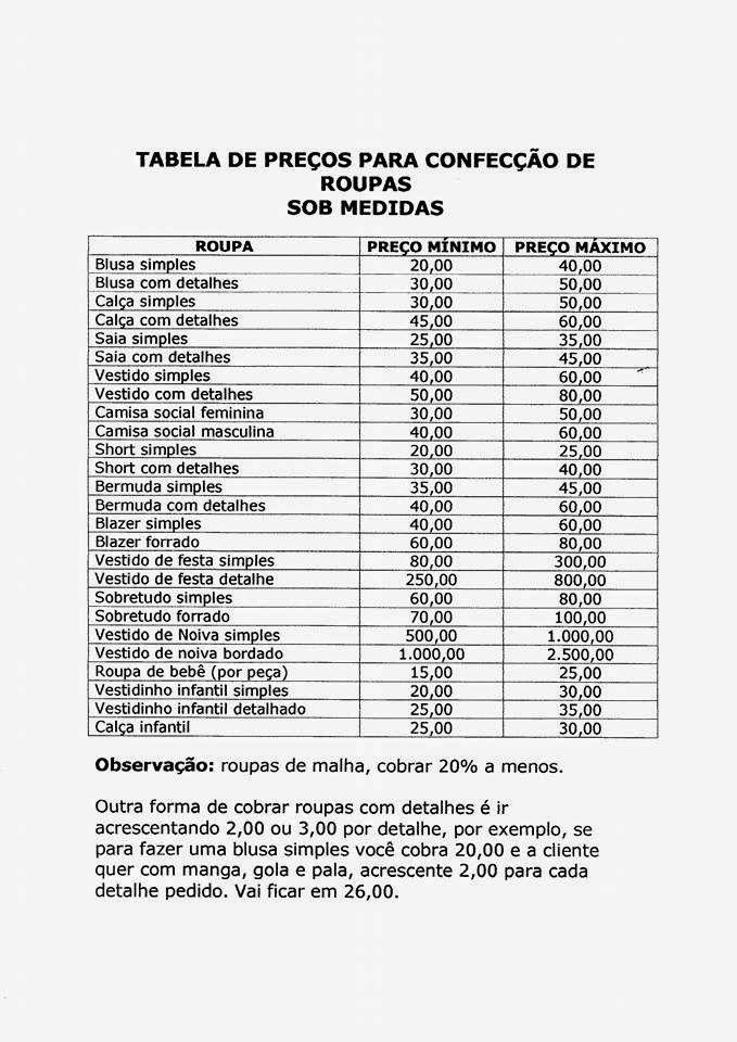 3cbd1aaa228c Tabela de preços para confecção de roupas sob medida | Beleza Absoluta