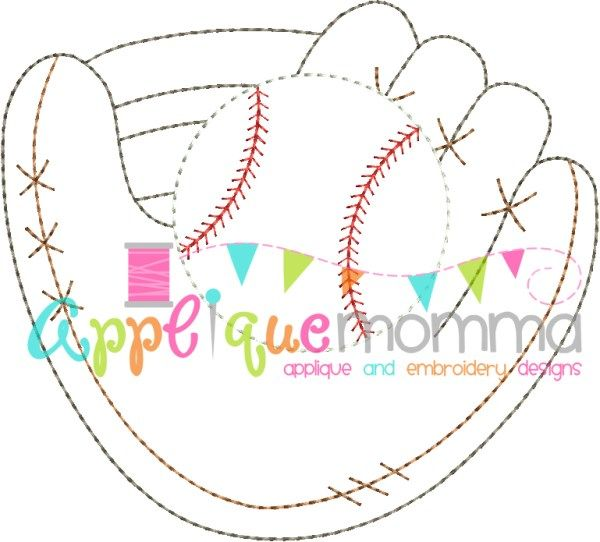 Baseball Glove Vintage Embroidery Design Applique Momma