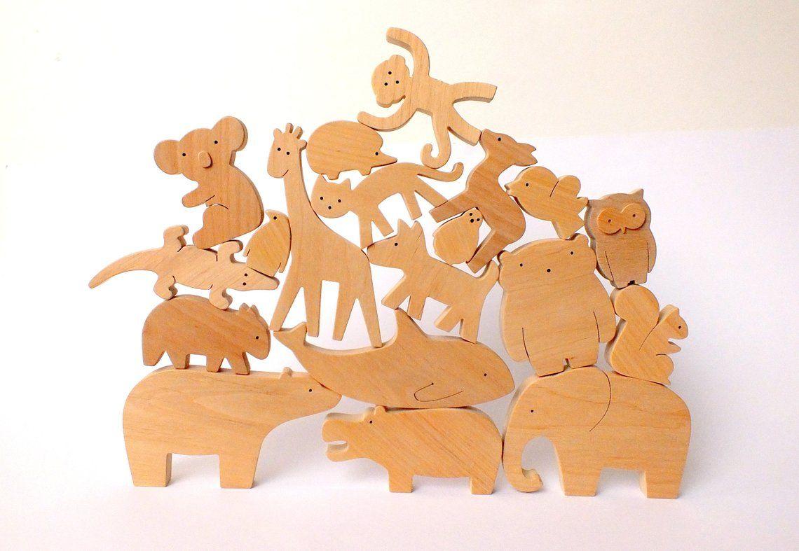 Wooden animal toy set - Educational wooden toys - Waldorf ...
