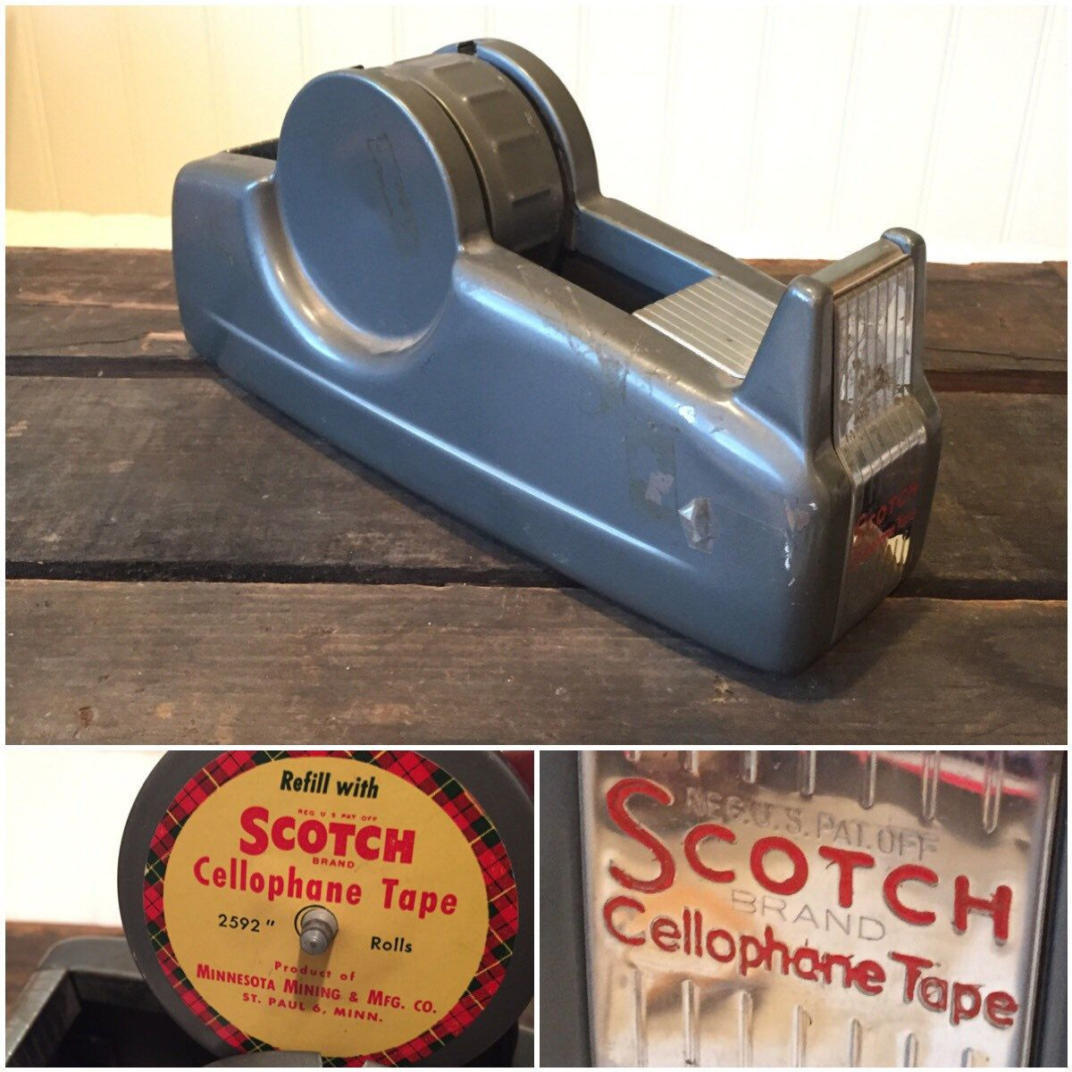 A personal favorite from my Etsy shop https://www.etsy.com/listing/469704577/vintage-industrial-scotch-tape-dispenser