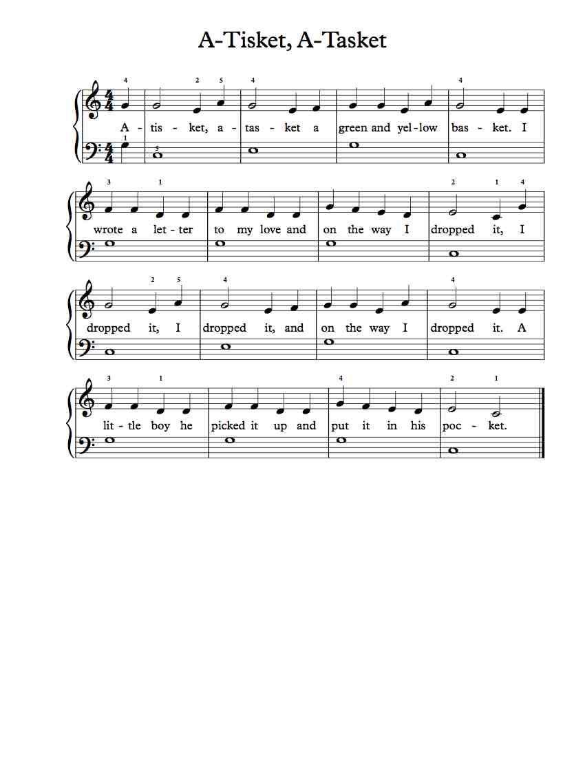 Free Beginner Piano Sheet Music A Tisket A Tasket Piano Sheet
