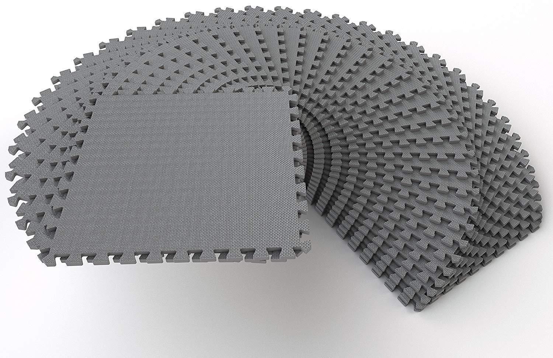 1 4 Thick Exercise Puzzle Mat Eva Foam Interlocking Floor Tiles 36 Pcs 144 Sq Ft Black Blue Gray In 2020 Interlocking Tile Interlocking Flooring Mat Exercises