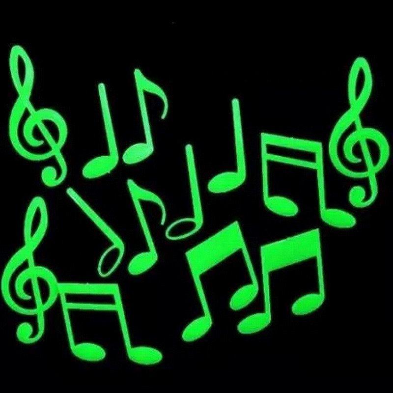 15 Music Symbol Fluorescent Glow In The Dark Wall Stickers Music