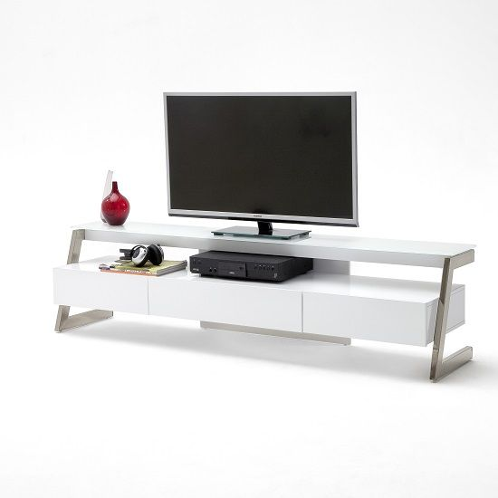 Albans Gl Lcd Tv Stand In White With High Gloss And 3 Drawers Stands Modern Black Mount Furnitureinfashion Uk