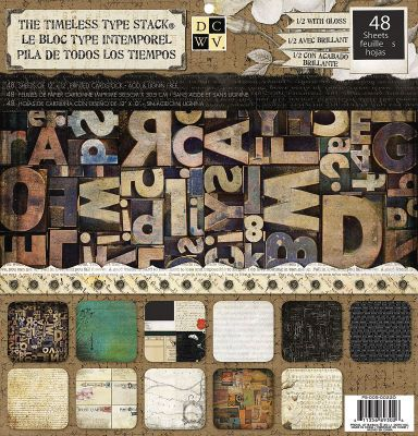 """DCWV® 12""""x12"""" The Timeless Type Stack       Bring nostalgia to life with The Timeless Type Stack. We've unlocked forgotten doors and thumbed through ephemera to bring this old-time feel to life. These elegant designs are framed in antique black, weathered green, tea-stained ivory, and ceramic blue. Alive with whispers from the past, these quaint prints are sure to give your projects a well-worn touch. Comes with 48 sheets; 2 of each print."""