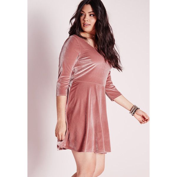 b3335889bc7a0 Missguided Plus Size Velvet Skater Dress ( 37) ❤ liked on Polyvore  featuring dresses