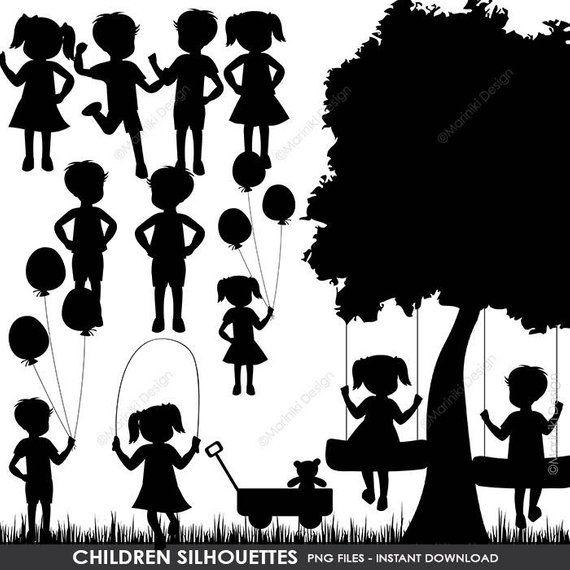 Children Silhouettes Clipart Children Clip Art Boy Silhouettes