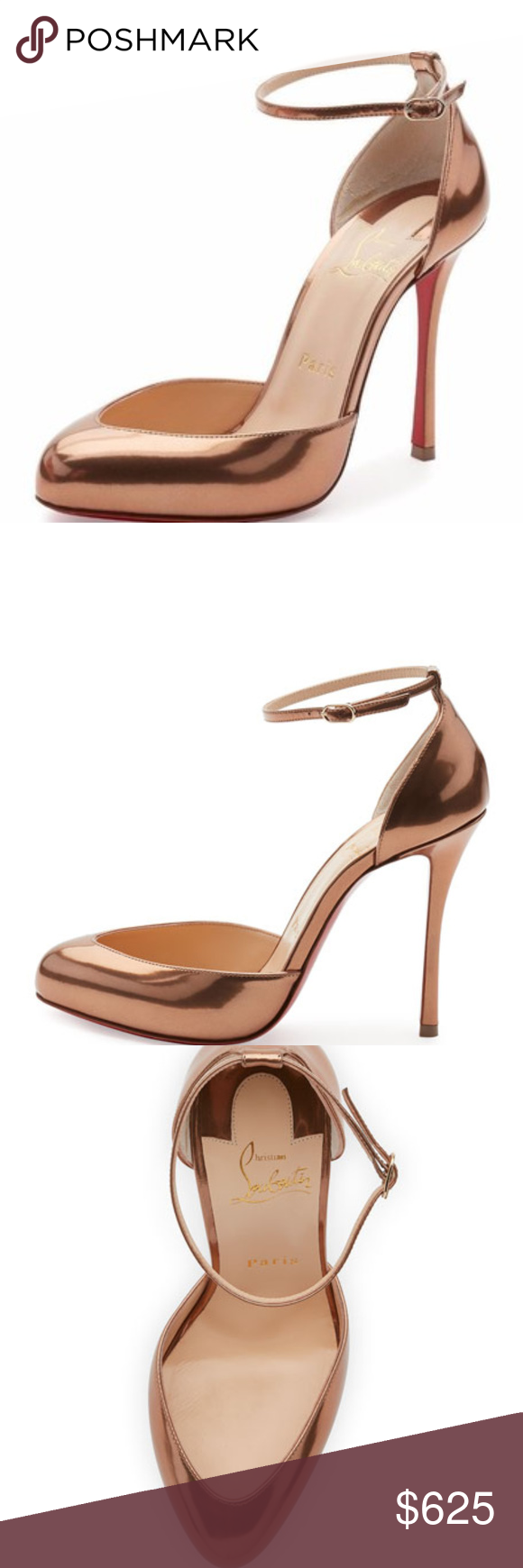 8a3c8ff52885 Christian Louboutin Dollyla 100 Bronze heels Authentic Christian Louboutin Dollyla  100 Bronze Cappuccino Ankle Strap Heel