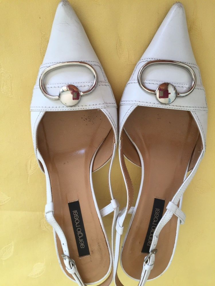 newest 3f555 d6963 Sergio Rossi Ladies shoes. White. Leather. Size 7. Made in ...