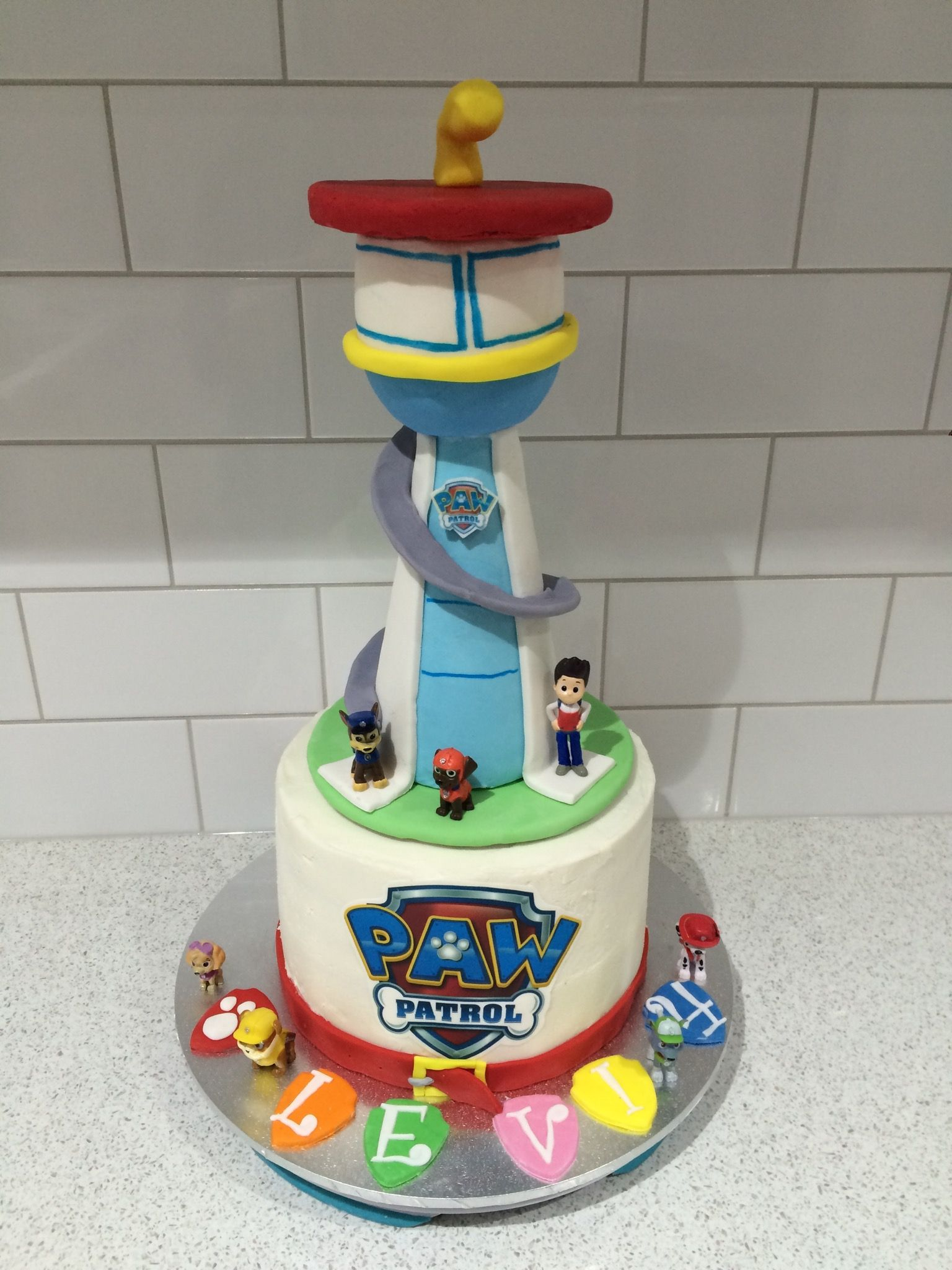 Prime Paw Patrol Lookout Tower Cake I Made For My Sons 4Th Birthday Personalised Birthday Cards Beptaeletsinfo